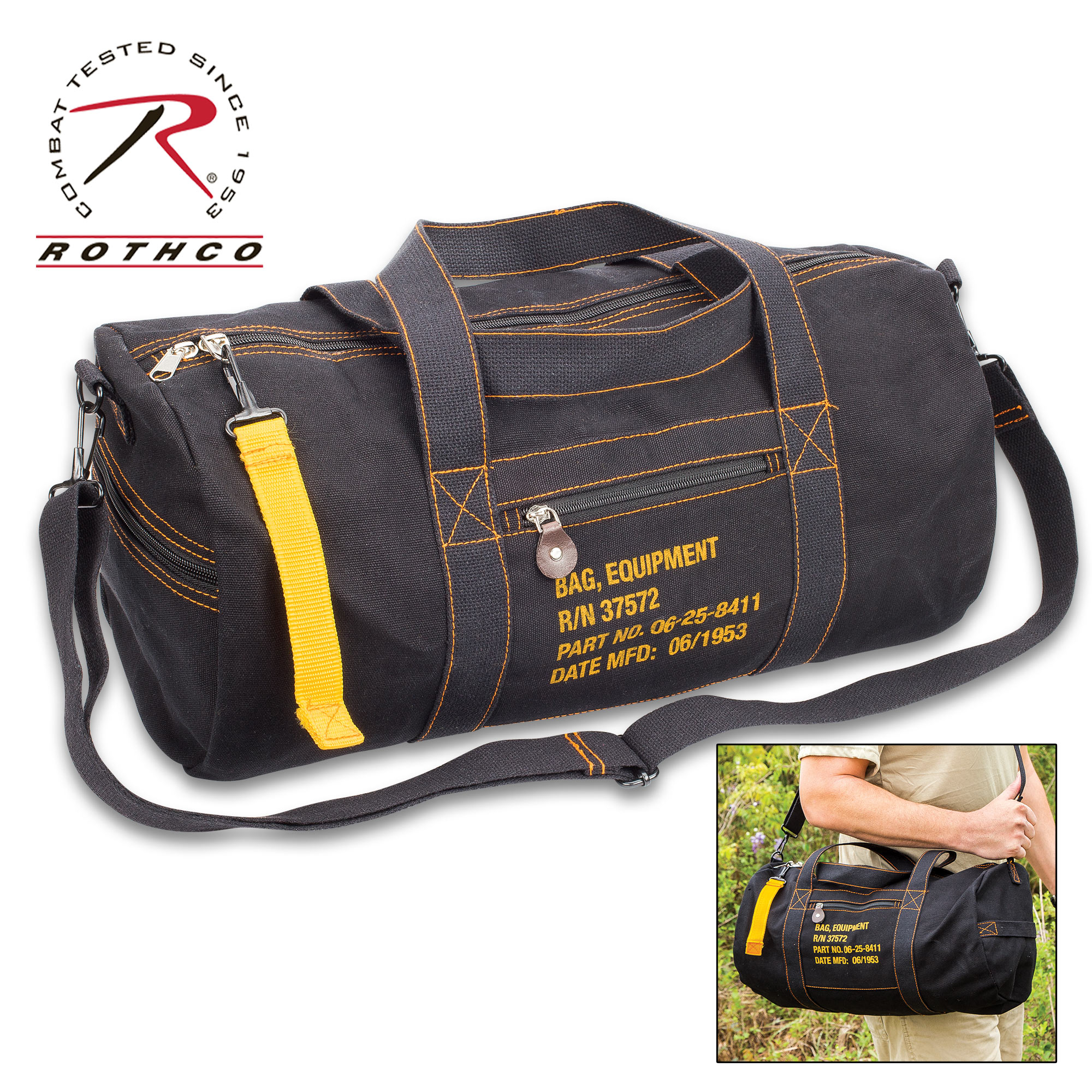 dcca3a429e7 Black Cotton Canvas Travel Equipment Carry Duffle Bag Flight Adjustable