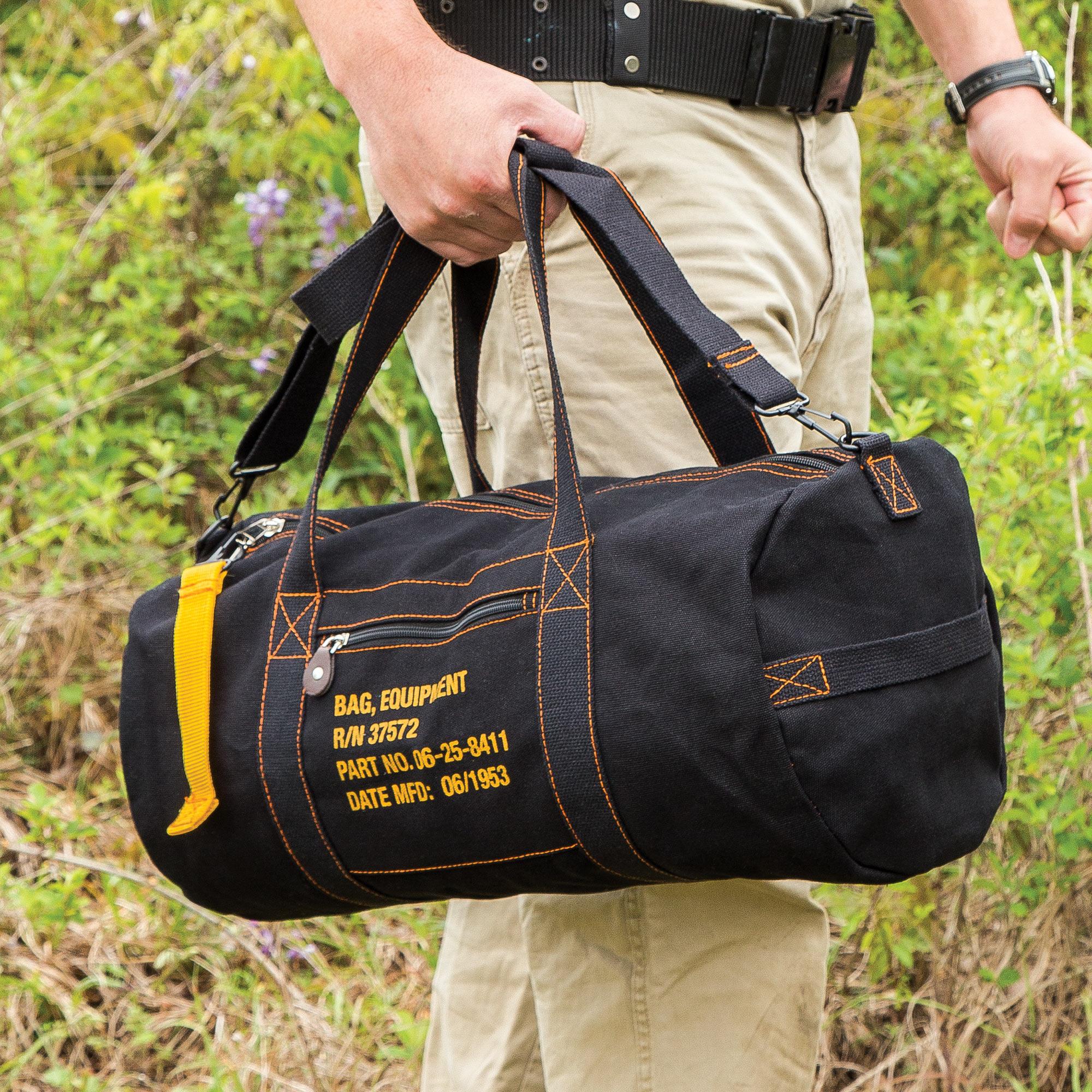 Details about Black Cotton Canvas Travel Equipment Carry Duffle Bag Flight  Adjustable a4b5813fb3532