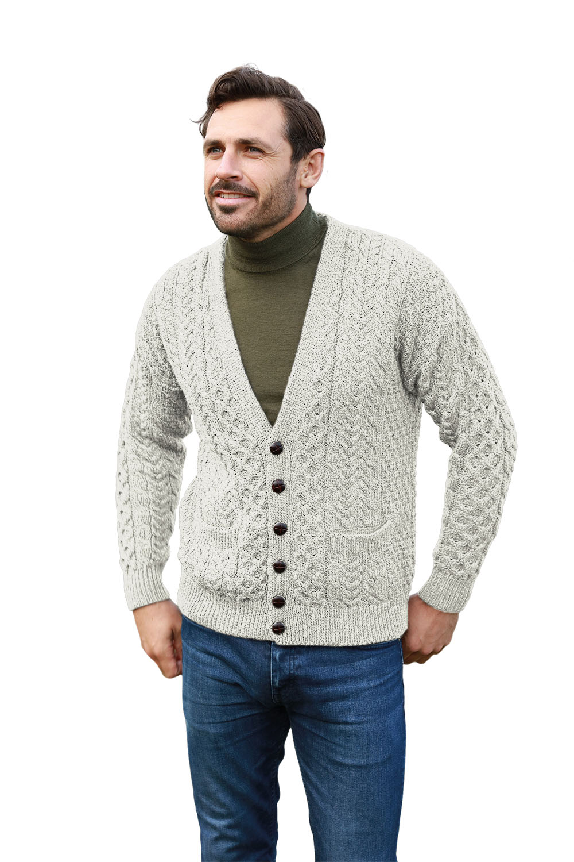4e908d8add765 Men's Wool Cardigan Irish Merino Wool V-Neck Aran Knit Design Patch Pockets