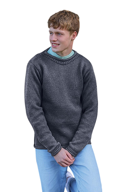 Mens-Wool-Sweater-Roll-Neck-Aran-Woollen-Mills-Pullover thumbnail 5