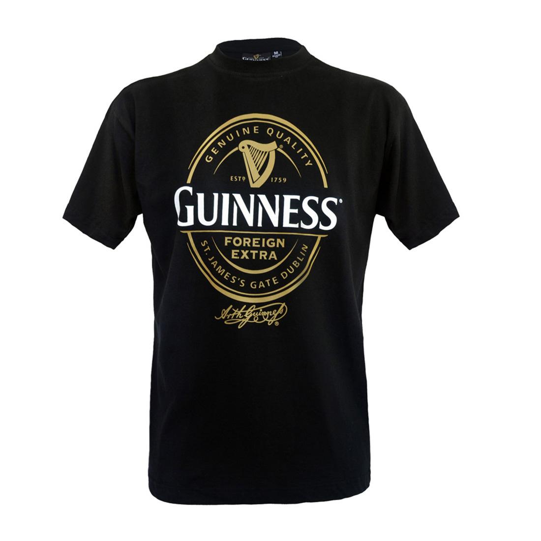 Guinness Black /& Gold Vintage Label Tee Mens Cotton Irish Ireland Shirt New