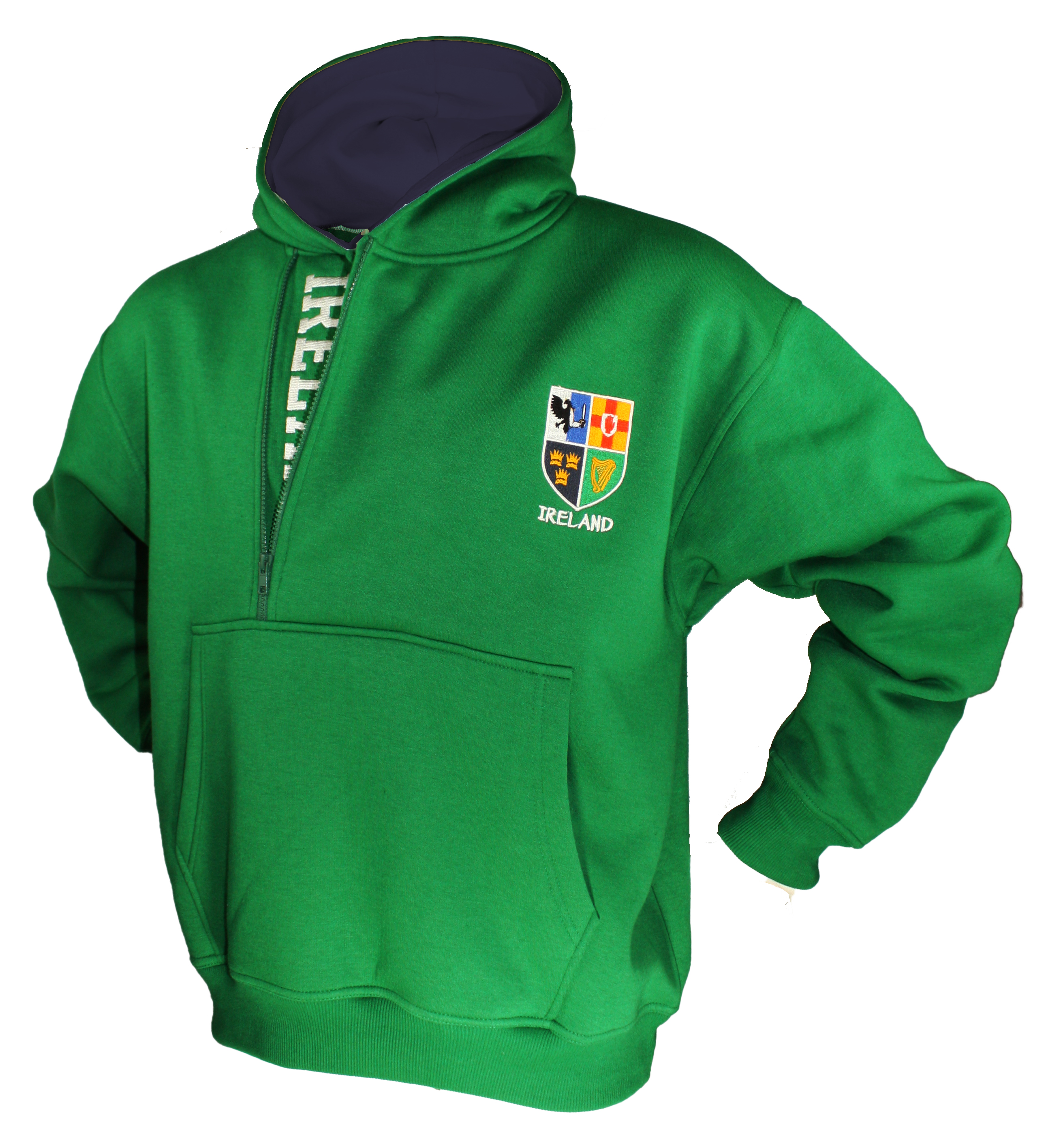 Men-039-s-Half-Zip-Hoodie-Pullover-Sweatshirt-Ireland-Navy-and-Green thumbnail 11