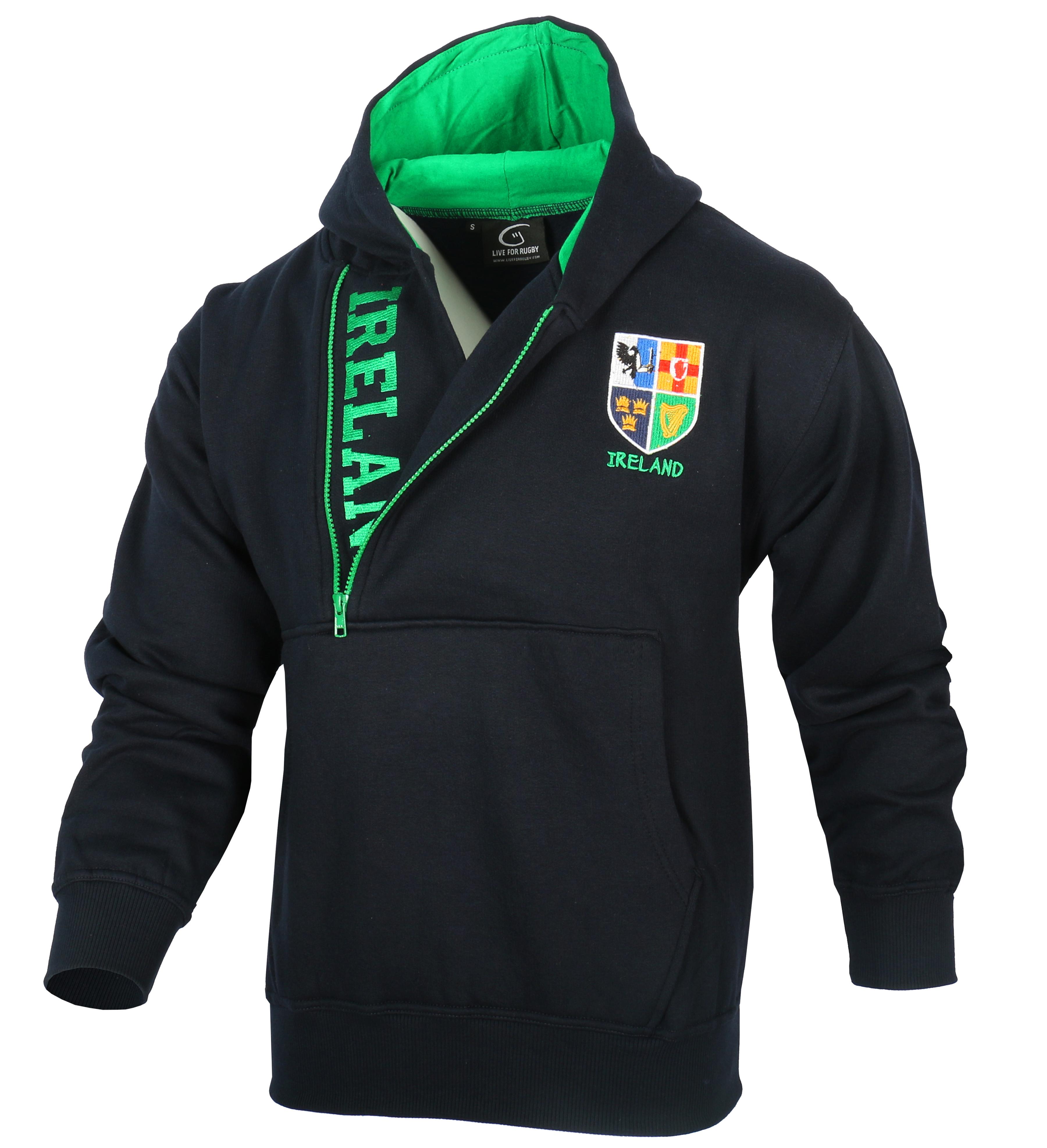 Men-039-s-Half-Zip-Hoodie-Pullover-Sweatshirt-Ireland-Navy-and-Green thumbnail 5
