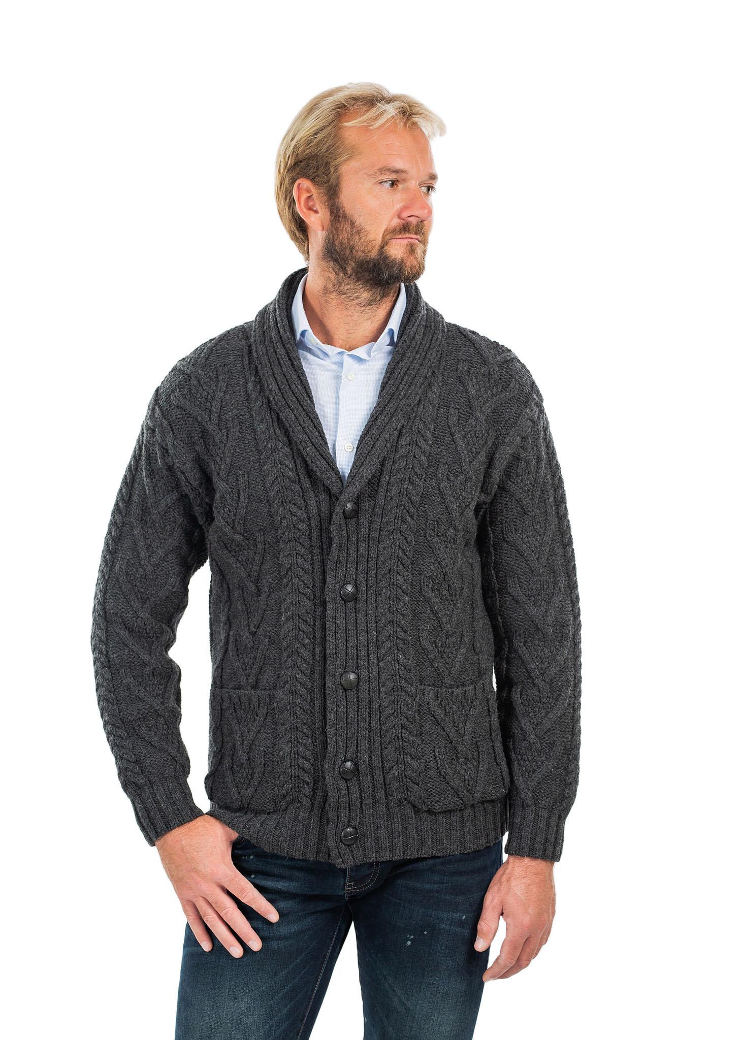 SAOL-Mens-Irish-Merino-Wool-Cardigan-Shawl-Collar-Front-Pockets-Aran-Cable-Knit thumbnail 34