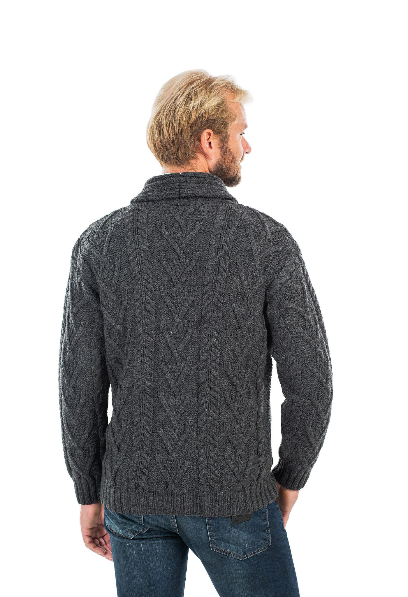 SAOL-Mens-Irish-Merino-Wool-Cardigan-Shawl-Collar-Front-Pockets-Aran-Cable-Knit thumbnail 39