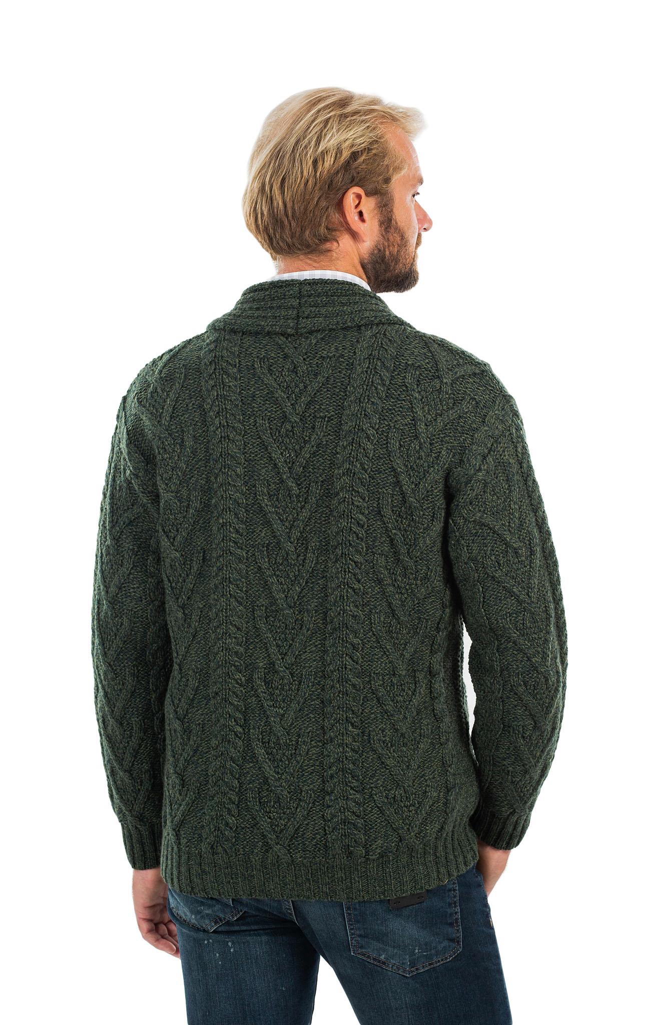 SAOL-Mens-Irish-Merino-Wool-Cardigan-Shawl-Collar-Front-Pockets-Aran-Cable-Knit thumbnail 7