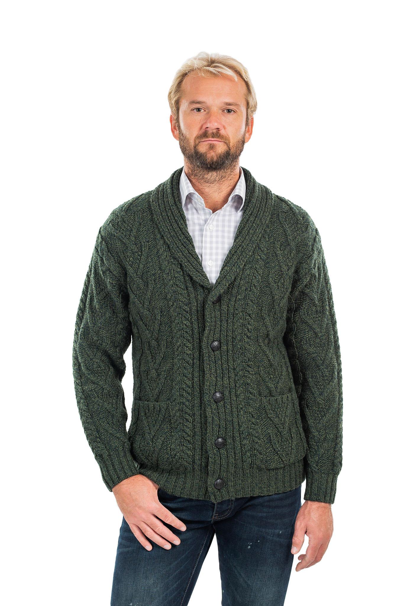SAOL-Mens-Irish-Merino-Wool-Cardigan-Shawl-Collar-Front-Pockets-Aran-Cable-Knit thumbnail 14