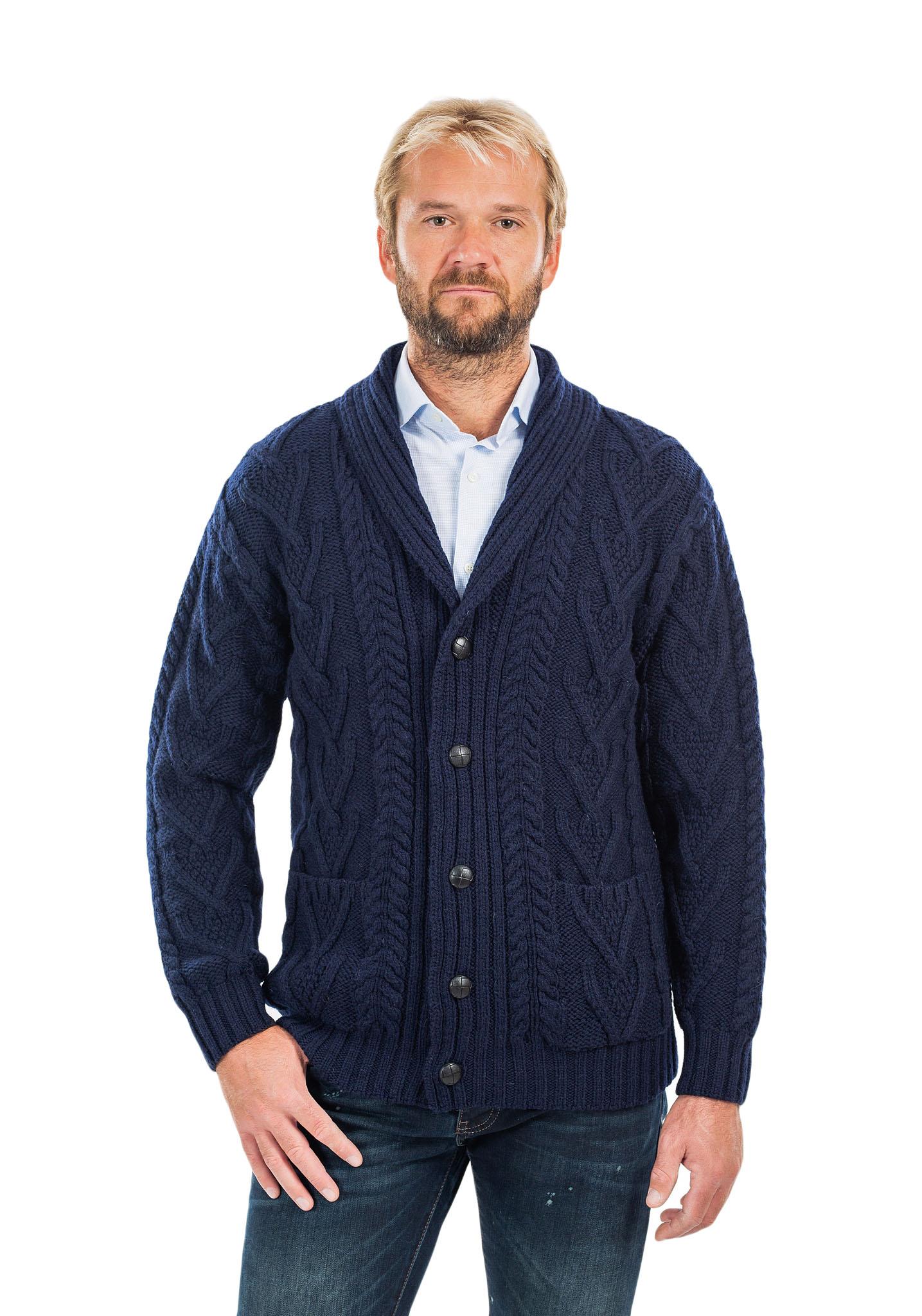 SAOL-Mens-Irish-Merino-Wool-Cardigan-Shawl-Collar-Front-Pockets-Aran-Cable-Knit thumbnail 18