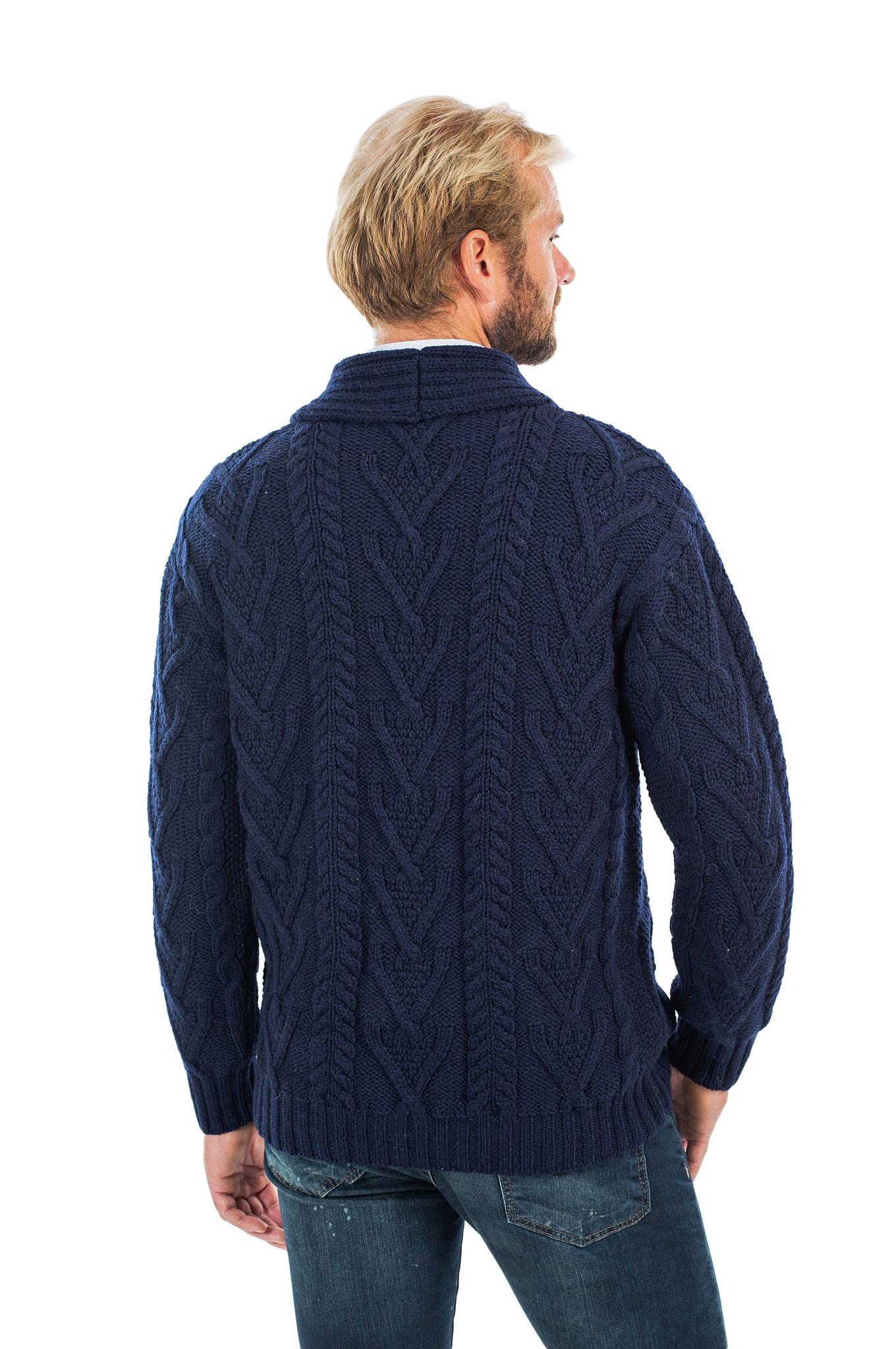 SAOL-Mens-Irish-Merino-Wool-Cardigan-Shawl-Collar-Front-Pockets-Aran-Cable-Knit thumbnail 19
