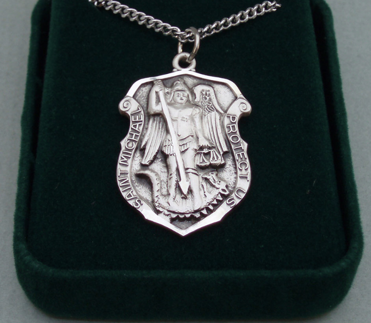 Sterling Silver Guardian Angel Medal Necklace Oval 1.8mm Chain