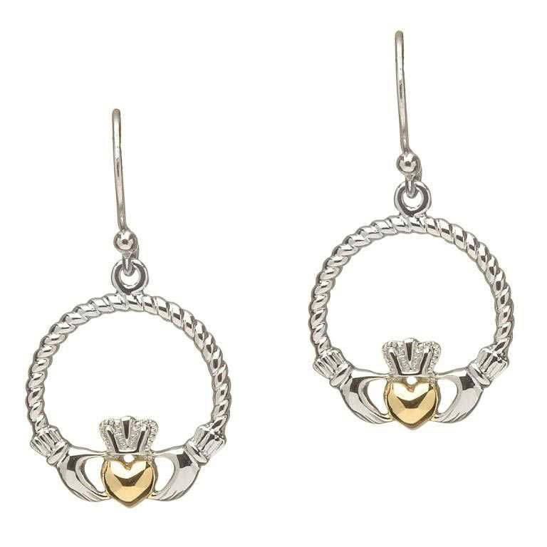 Shanore Claddagh Sterling Silver Earrings Gold Plated Heart Fish Hook 17 x 21mm