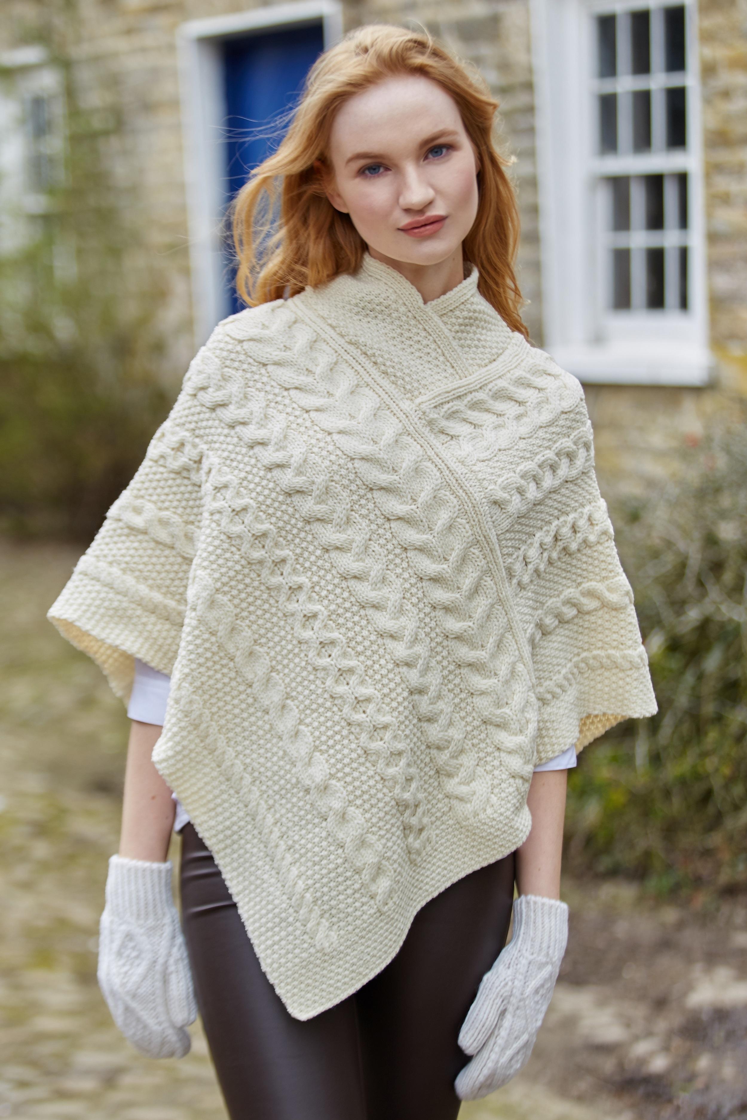 Relatively Irish Merino Ladies Aran Knit Poncho | eBay QI13