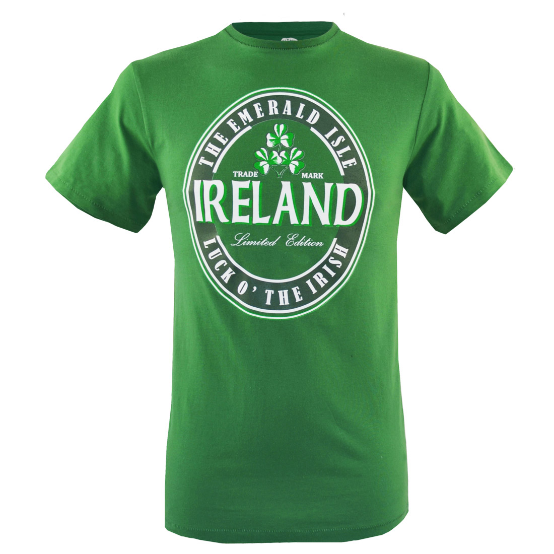 Kids T-Shirt Emerald Green White Ireland White Ringer Cotton Traditional Irish