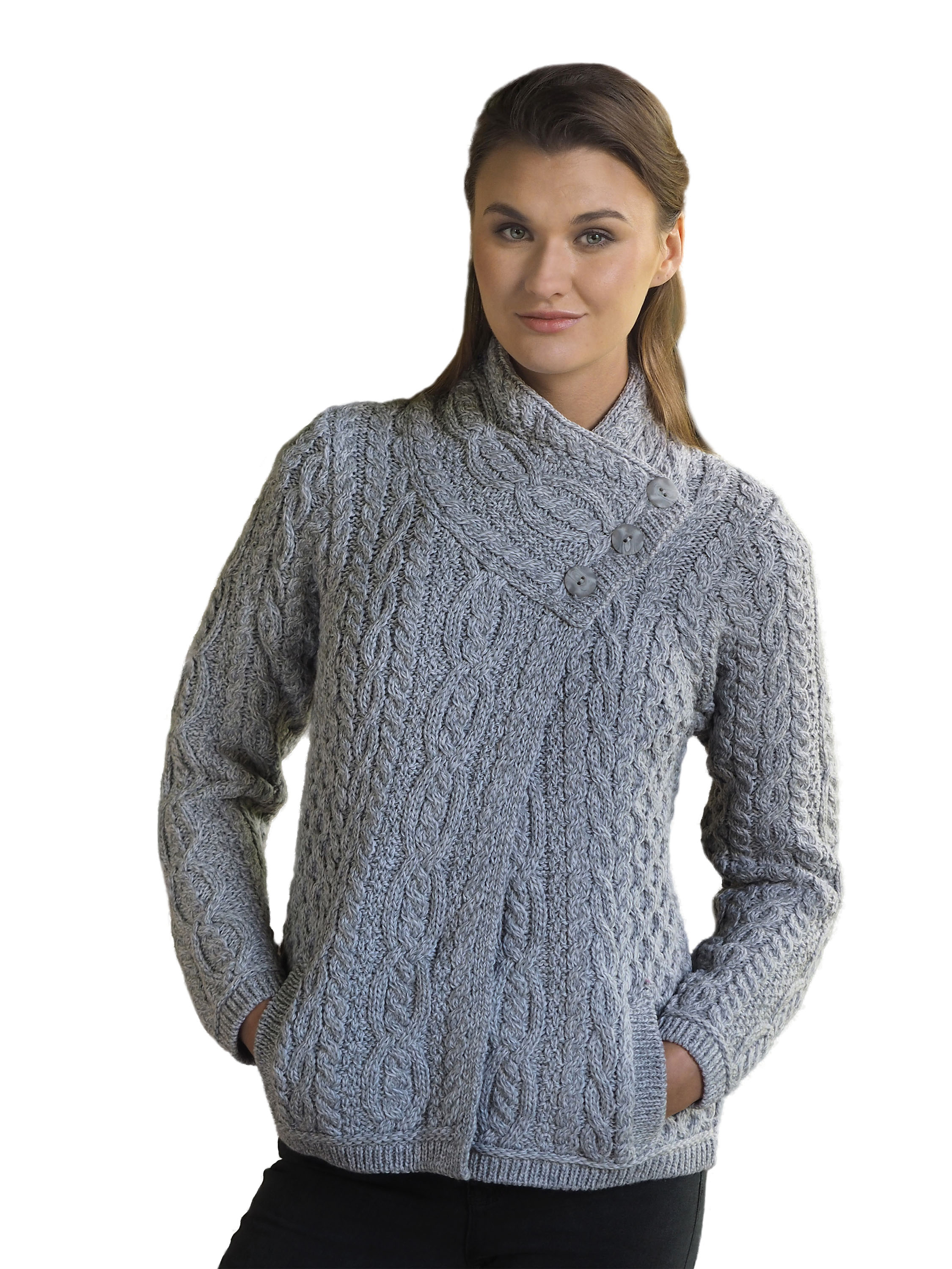 a Giacca Cable tre Knit lana irlandese bottoni in 8gSgxEqwf