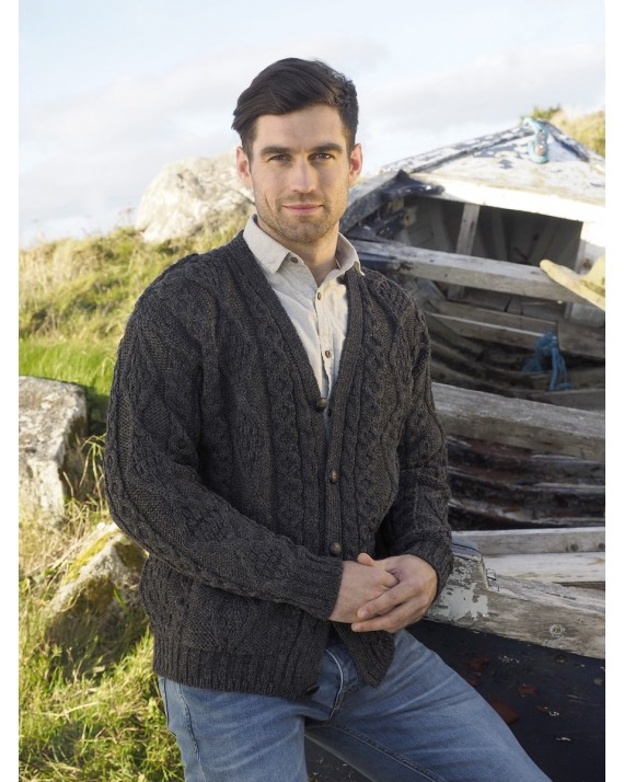 79920691f Irish-Merino-Wool-V-Neck-Button-Aran-Sweater thumbnail