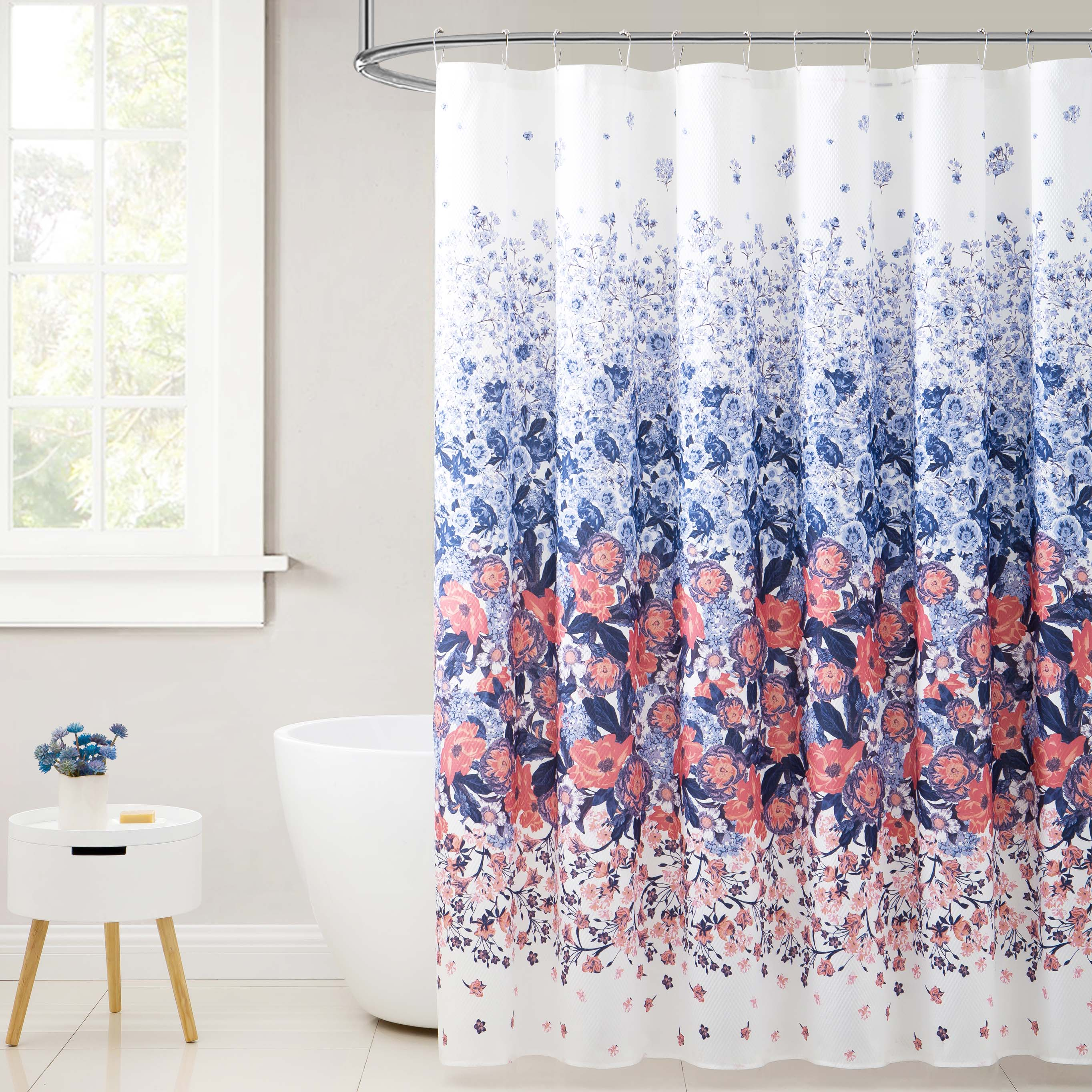 Fabric Shower Curtain White With Navy And Orange Coral