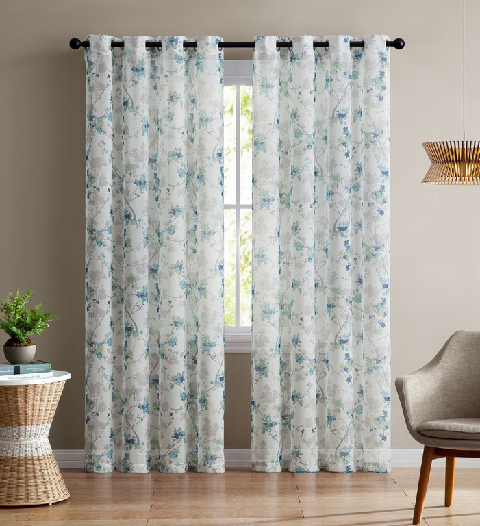 Fantastic Single Teal and White Sheer Curtain Panel: Grommets, Floral Design  VT36