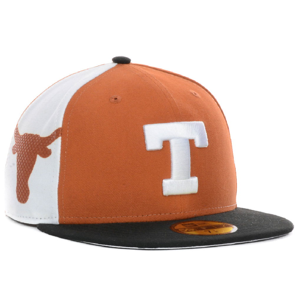 71892d0dab Details about Texas Longhorns New Era Side Slicker 59Fifty Fitted Hat Cap  Dark Orange NEW