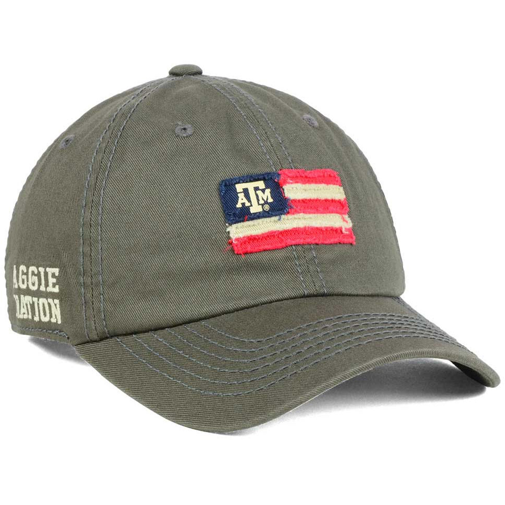 cheaper 80868 52c72 Details about Texas A M Aggies Nation USA Flag Slouch Strapback Dad Cap Hat-Grey  NEW