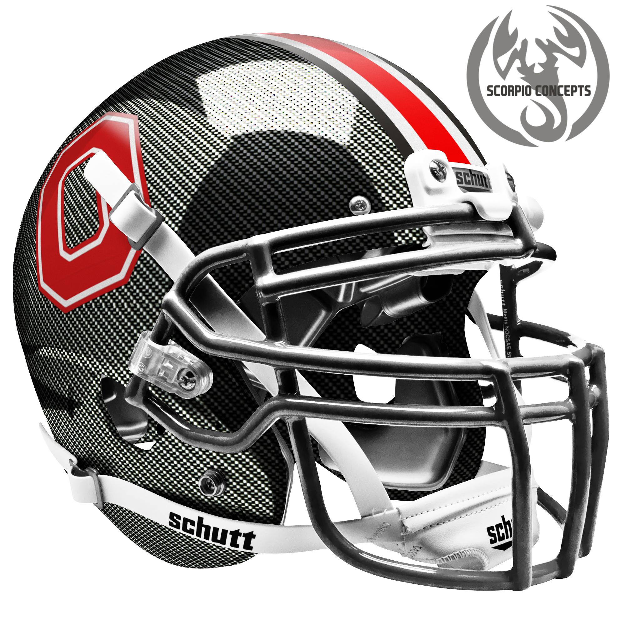 Ohio State Buckeyes Block O Carbon Fiber Concept Helmet Mini