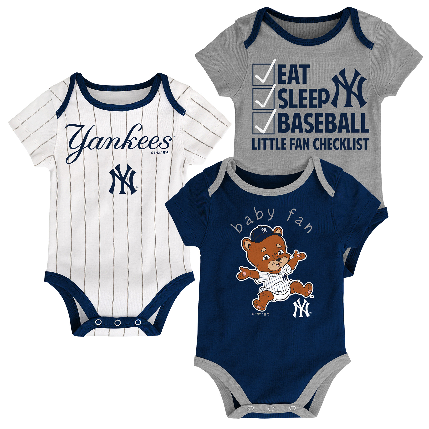 """New York Yankees """"Play Ball"""" Baby Infant Toddler 3 Pack Creeper"""