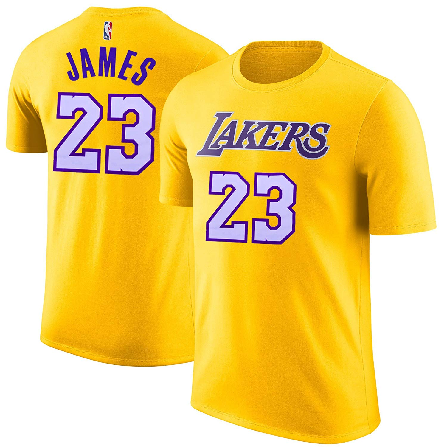 eeda365f48f Details about LeBron James Los Angeles Lakers  23 Gold NBA Youth Name    Number T-shirt