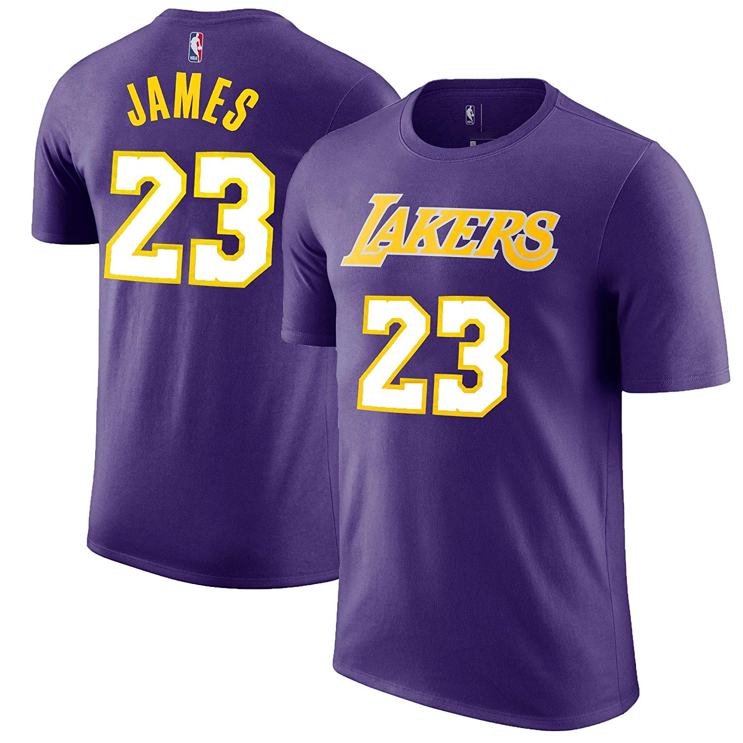 721836e12 Details about LeBron James Los Angeles Lakers  23 Purple NBA Youth Name    Number T-shirt