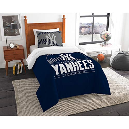"""MLB New York Yankees Twin Bed Comforter Set Size 64"""" x 86 ..."""