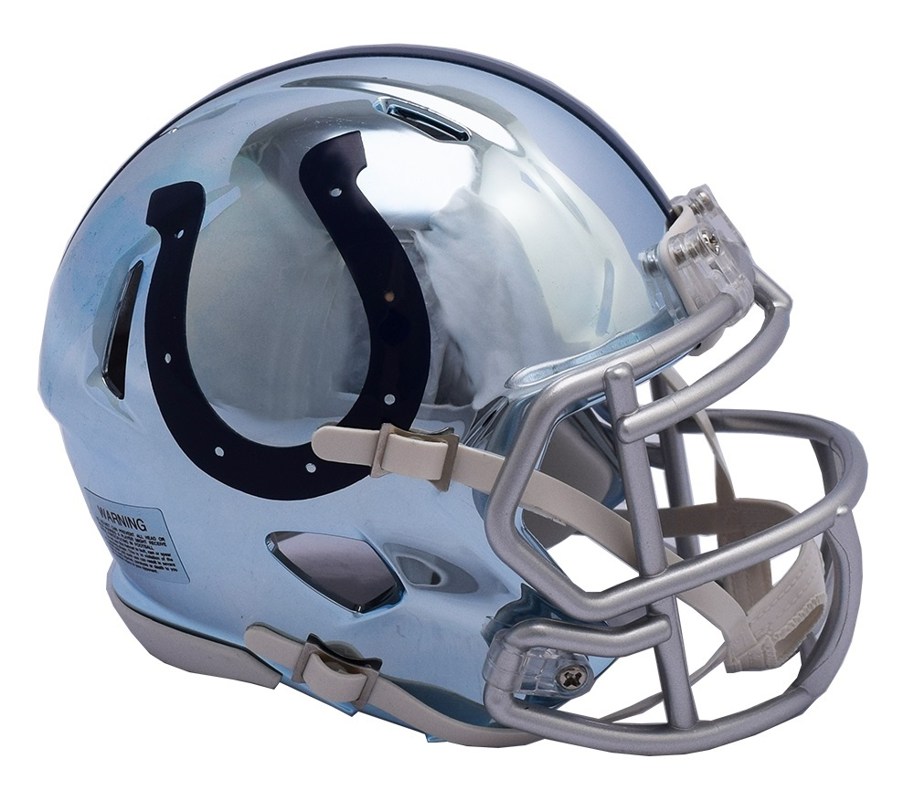 b6082ef9 Details about Indianapolis Colts Riddell Speed Mini Helmet - Chrome  Alternate
