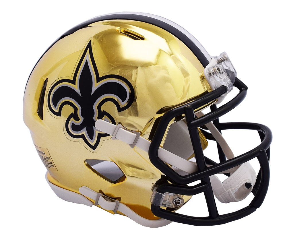 finest selection 52384 bf6b9 Details about New Orleans Saints Riddell Speed Mini Helmet - NFL Chrome  Alternate