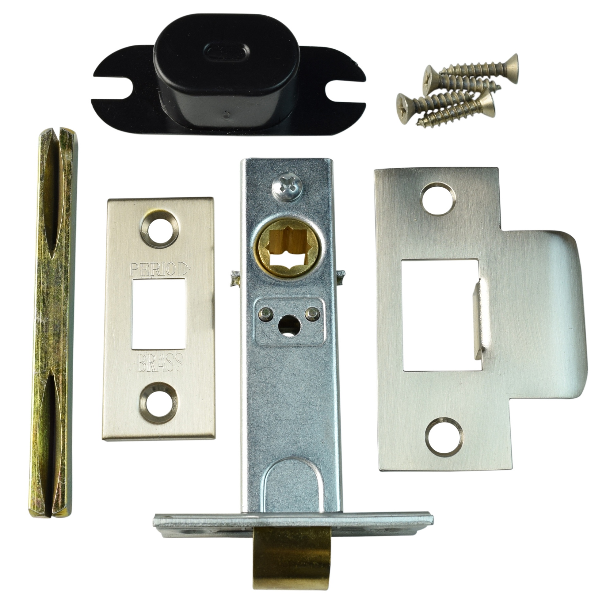 Period Brass Square Passage Door Latch Kit 8mm Broached Spindle Satin Nickel Ebay