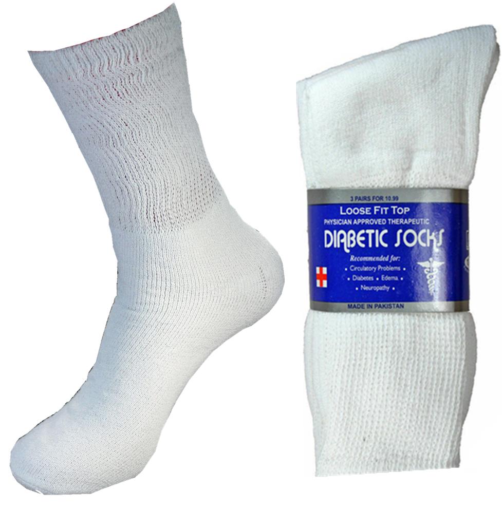 6 Pairs Diabetic Crew Circulatory Socks Health Women Cotton 9 10-15 long BK