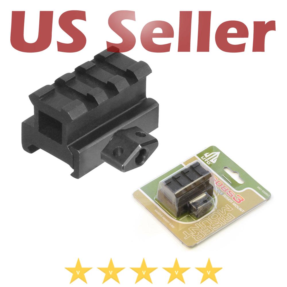 "Leapers UTG 1/"" High 3-Slot Compact Riser Mount Weaver Picatinny Base MNT-RS10S3"