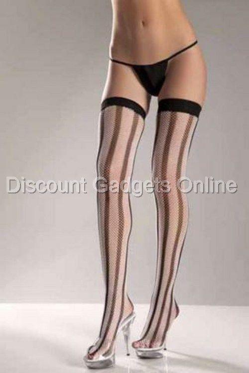 531667337 Details about Vertical Striped Thigh High Stockings BE WICKED Lingerie
