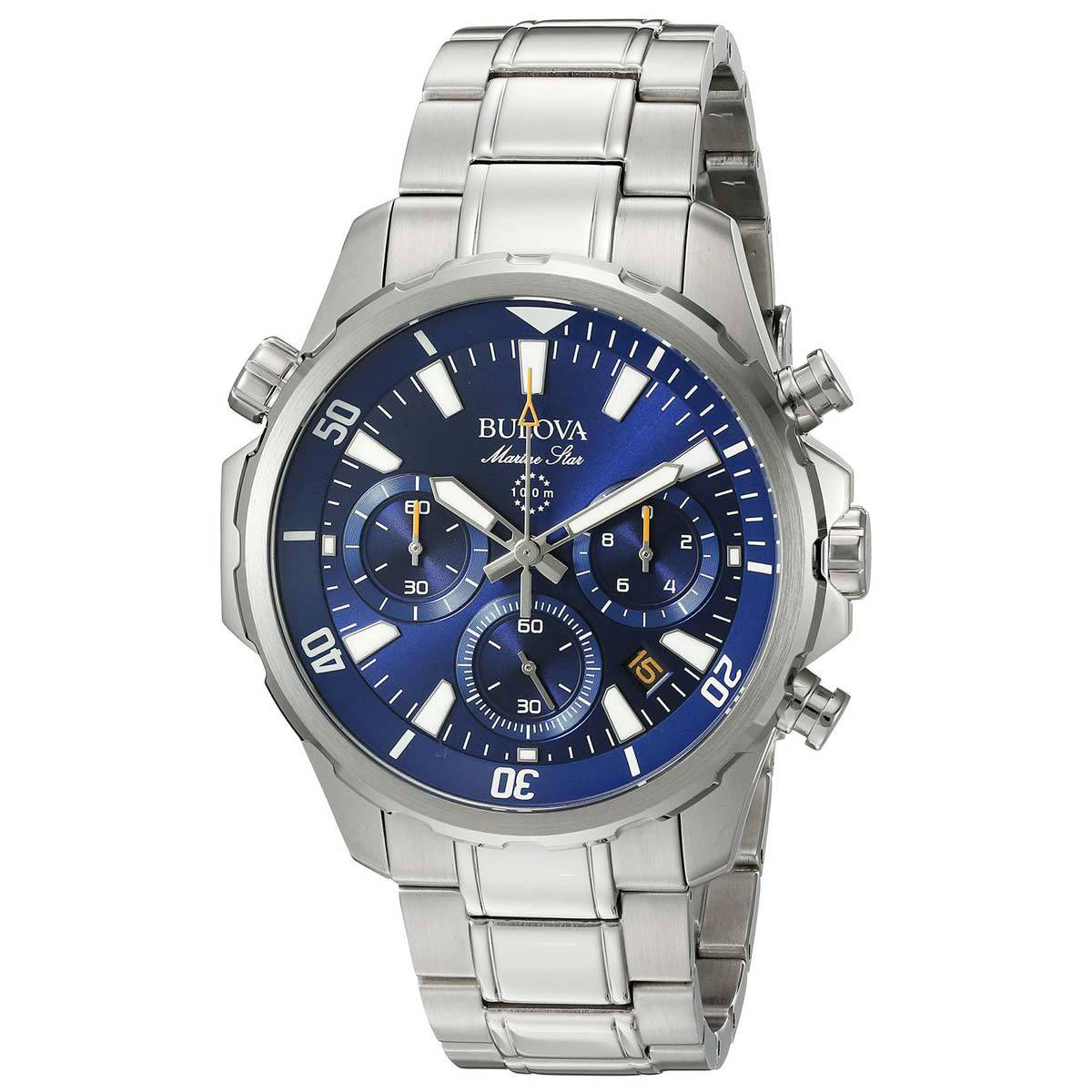 7e0dabb12 Details about Bulova Mens Stainless Steel Marine Star Chronograph Watch  96B256