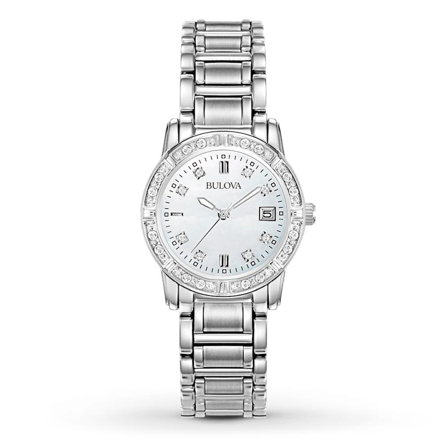 Bulova Women s 96R105 Dress Diamond Stainless Steel Mother Of Pearl Wrist  Watch 9606033e0a