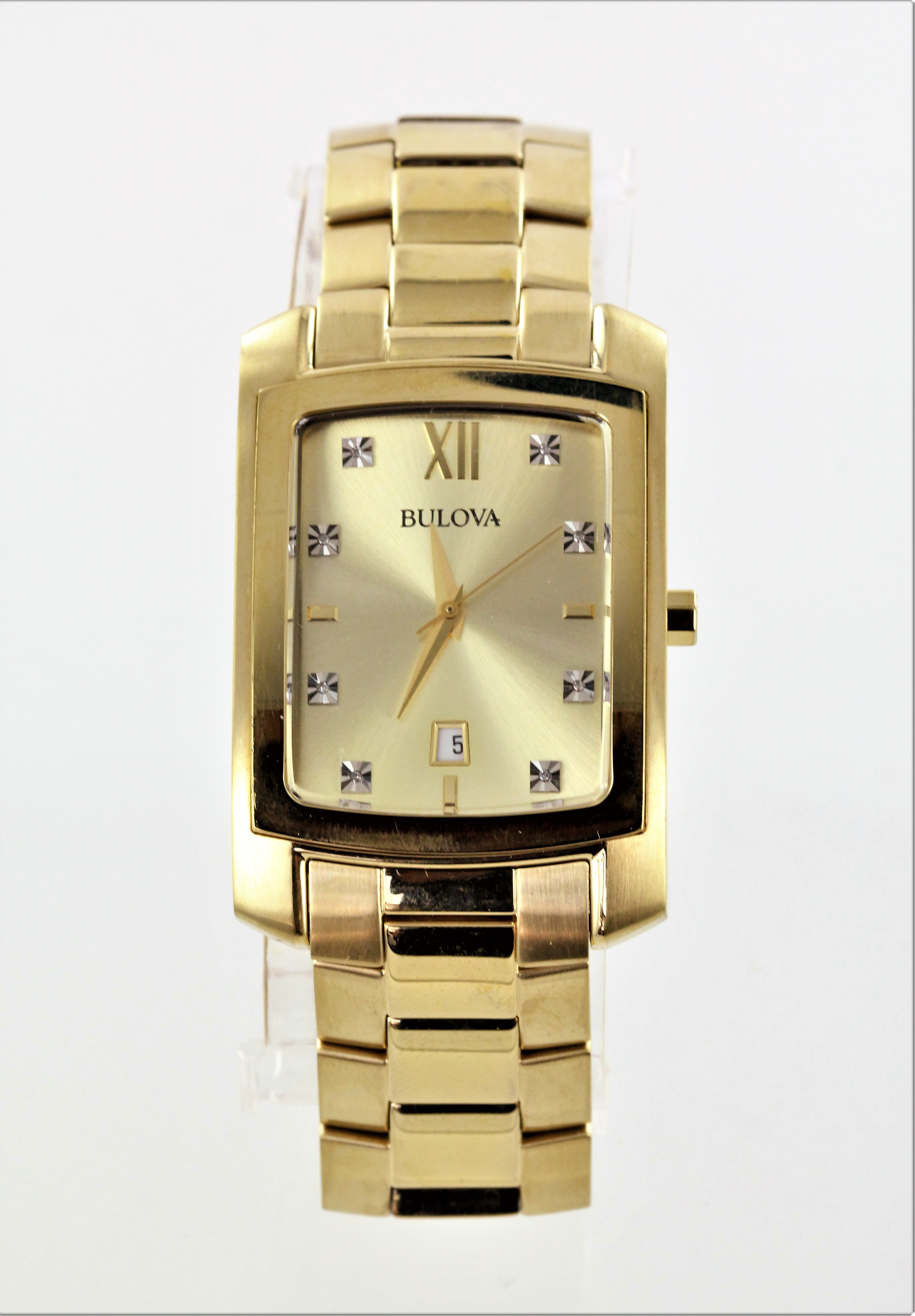ef5b97ea67c9 Details about Pre-Owned Bulova Diamond Mens Gold Plated Stainless Steel  Quartz Watch 97D107