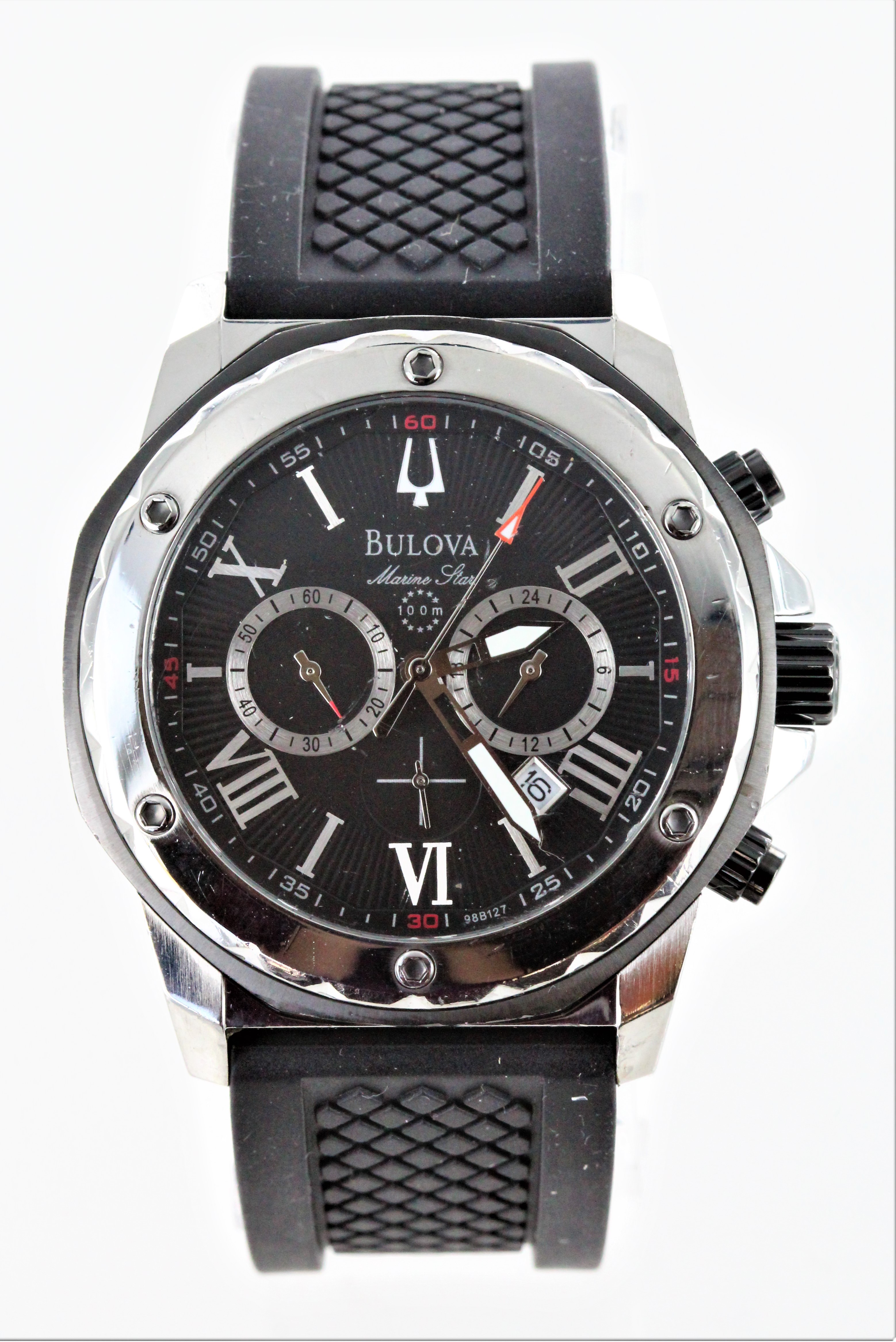 92f208195 Details about Pre-owned Bulova Men's 98B127 Marine Star Black Dial Strap  Watch