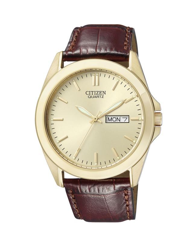ea5b583351f Details about Citizen Men s Gold Tone With Brown Leather Strap Quartz Watch  BF0582-01P