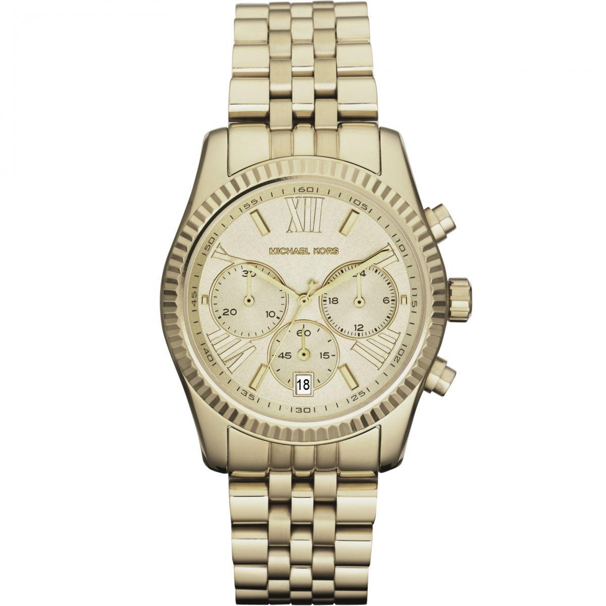 1e5c099b0574 Details about Michael Kors Lexington Chronograph Champagne Dial Gold PVD  Ladies Watch MK5556
