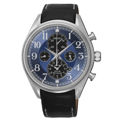 92272087b006 Details about Seiko Men s Chronograph Blue Dial Black Leather Watch SSC209