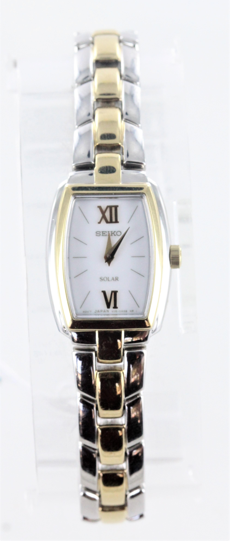 4533de48fe4 Details about Seiko Ladies  Solar Rectangular Bracelet Watch Two-Tone With White  Dial NWD