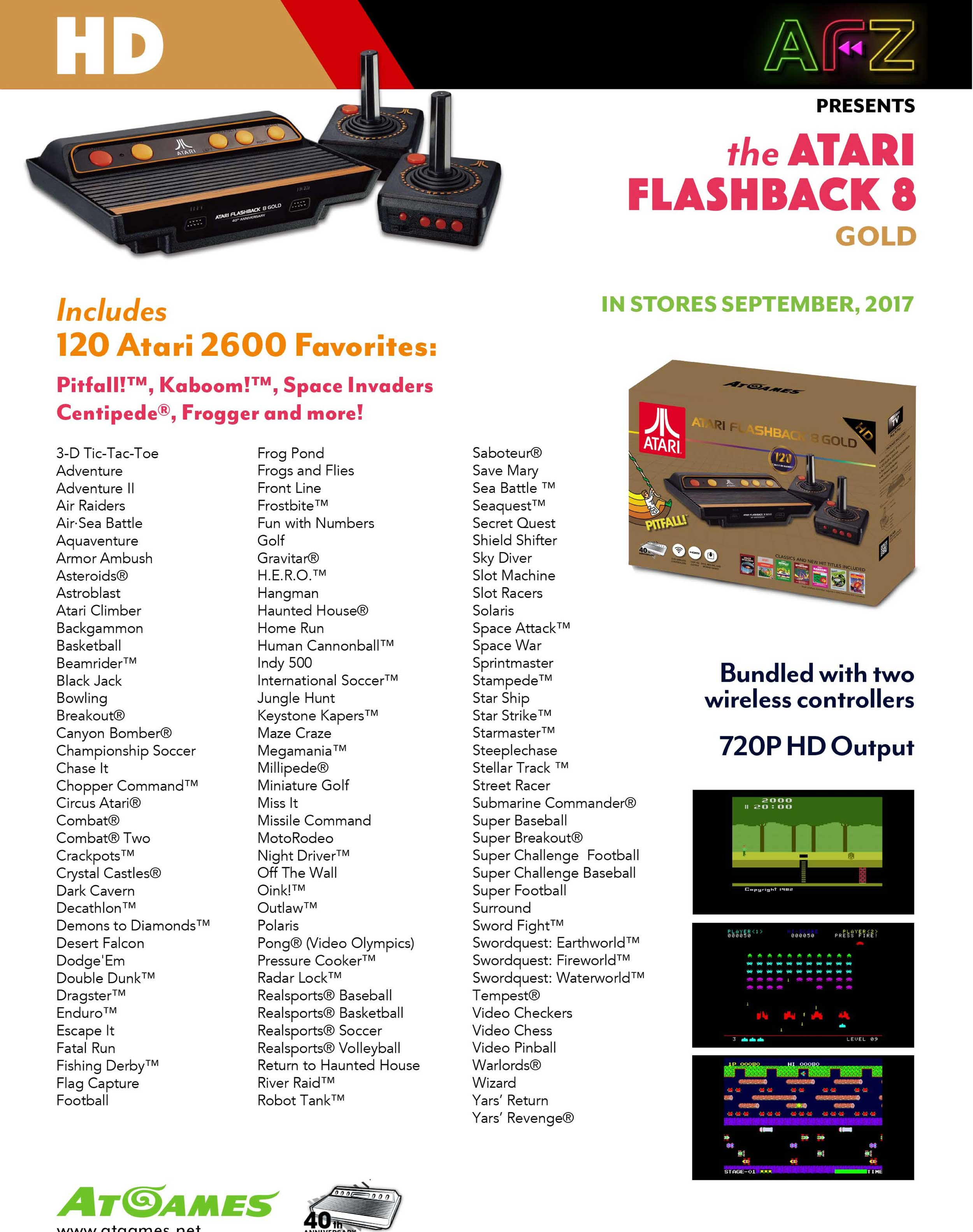 atari flashback 8 gold list of games