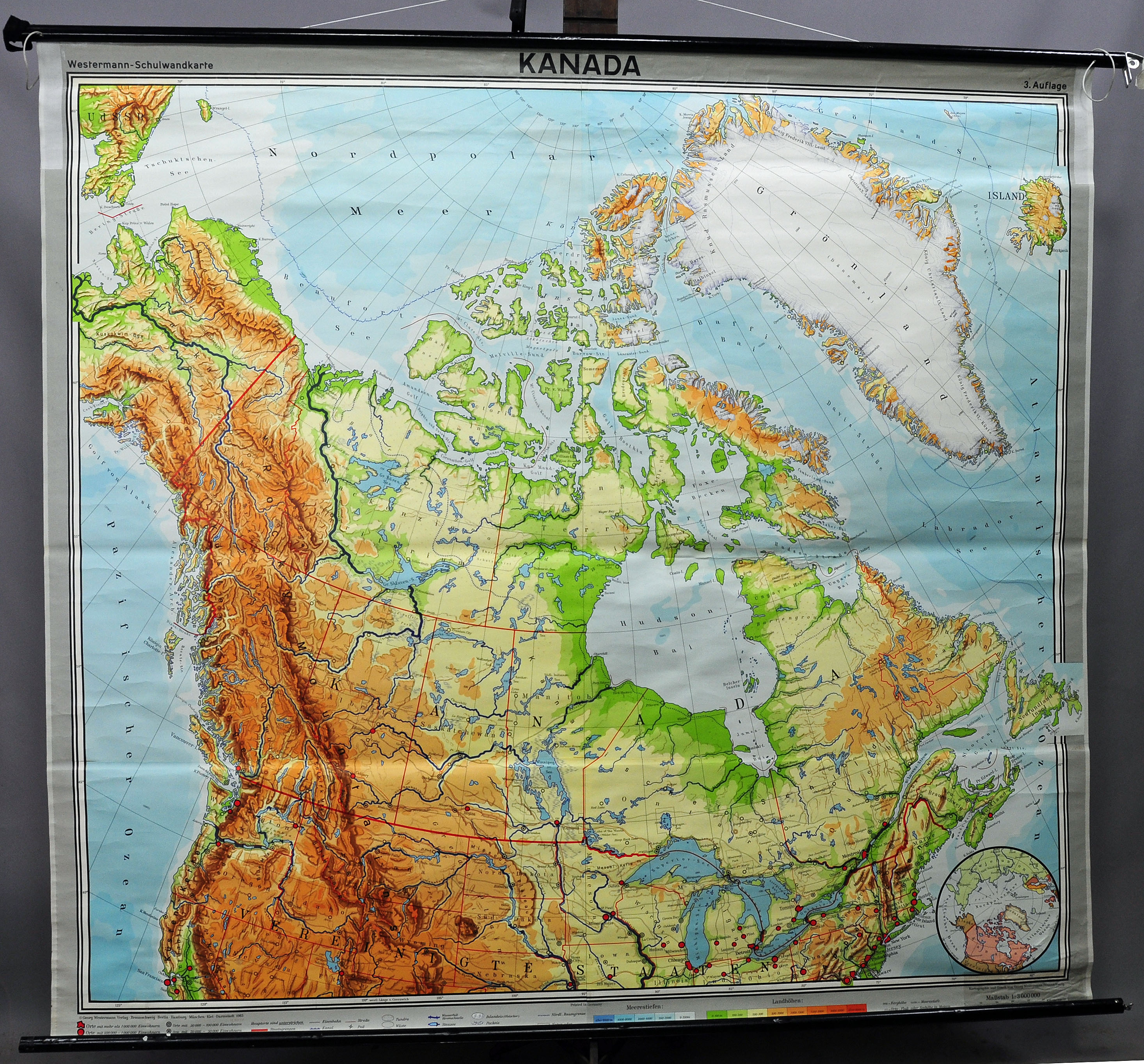 vintage picture poster wall chart geography map physical Canada Greenland |  eBay