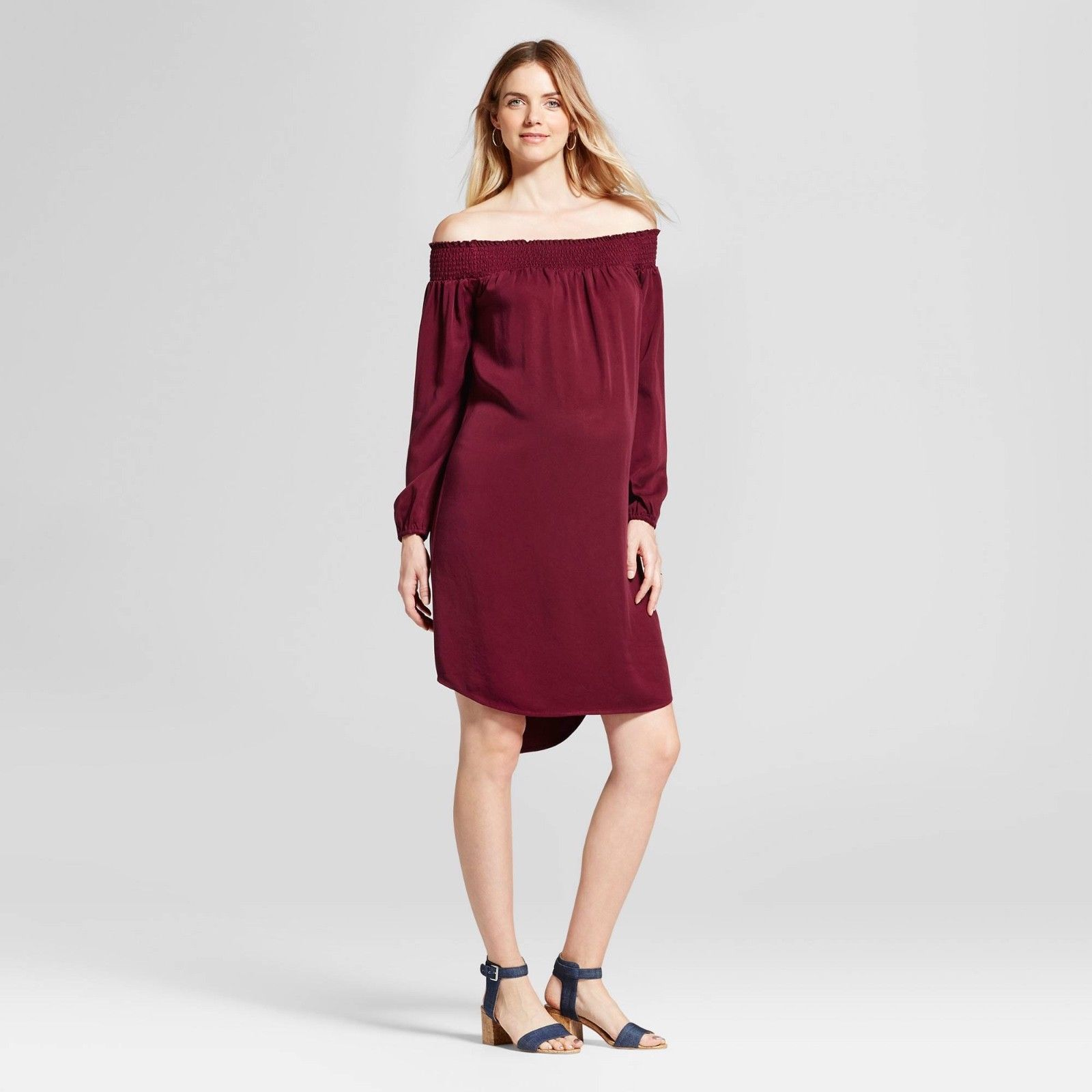 Isabel maternity off the shoulder long sleeve dress boysenberry isabel maternity off the shoulder long sleeve dress boysenberry red ombrellifo Image collections