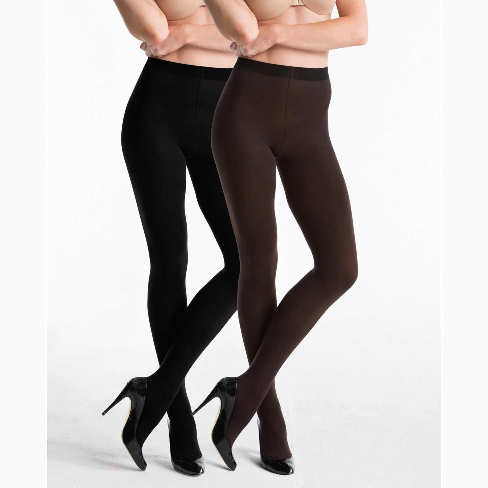130c3e0afa3132 Details about Star Power SPANX Center Stage Reversible Shaping Tights  Backdrop Black Brown A