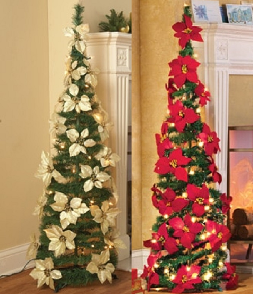 Lighted Poinsettia Red Or White Pull Up Christmas Tree Collapses Holiday  Sparkle