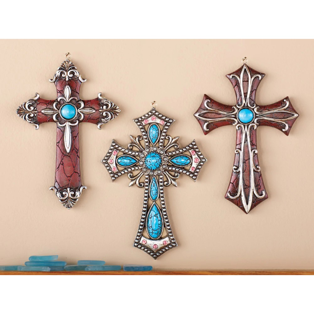 Western Hanging Cross Wall Decor Set Of 3 Crosses Resin Turquoise Stones