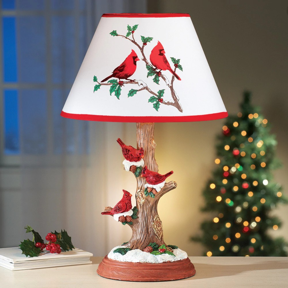 Cardinal table lamp christmas decoration polyester resin base snowy cardinal table lamp christmas decoration polyester resin base snowy tree trunk aloadofball Image collections