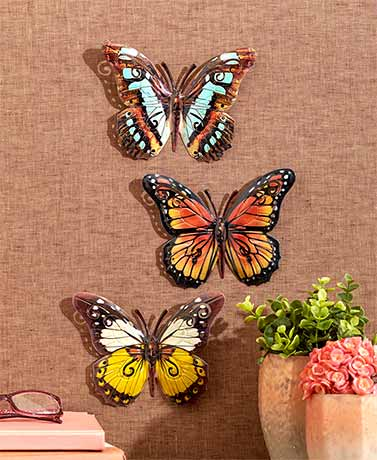 Set-of-3-Indoor-Outdoor-Metal-Butterfly-Wall- & Set of 3 Indoor Outdoor Metal Butterfly Wall Art Plaques Ready to ...